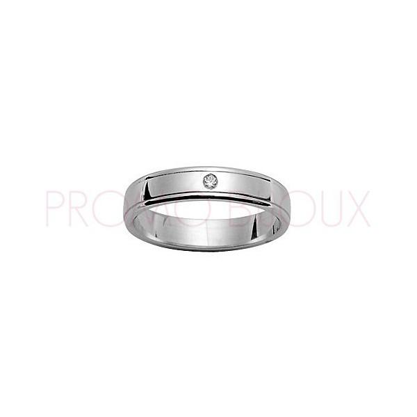 Alliance de Mariage en Argent Rhodié et Diamant [4 Mms ]