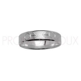 Alliance en Argent Rhodié diamanté - Alliance Symboles Homme en Couple