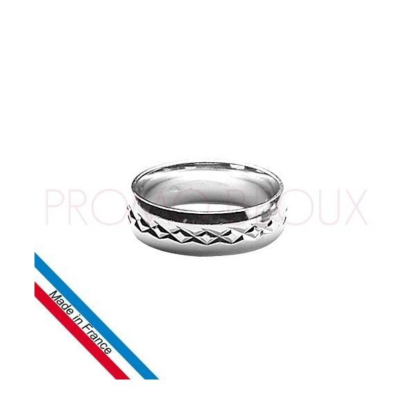 Alliance en Argent Homme - Rhodié Diamantée - Largeur 6 Mm
