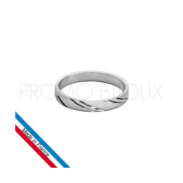 Alliance en Argent Brillant Rhodié Diamantée - Largeur 3 Mm