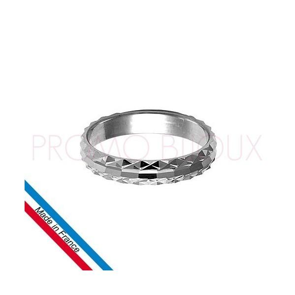 Alliance en Argent Rhodié Diamantée - 4 MM