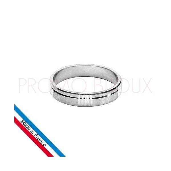 Alliance en Argent Diamantée & Brossée - Largeur 4 Mm