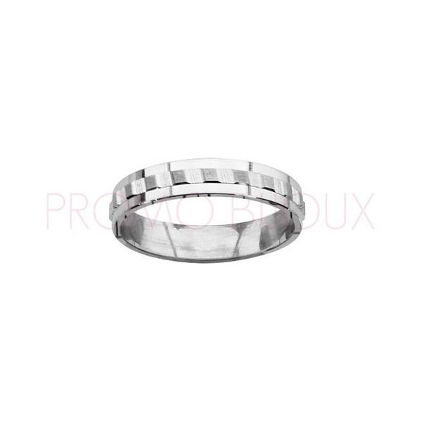 Alliance en Argent Rhodié -Diamantée - 4 MM