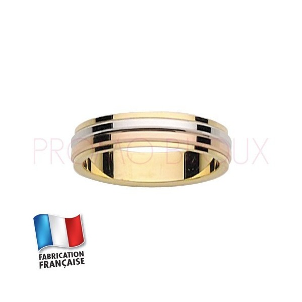 Alliance de mariage trois ors 9 carats - Standard - 4.5 MM