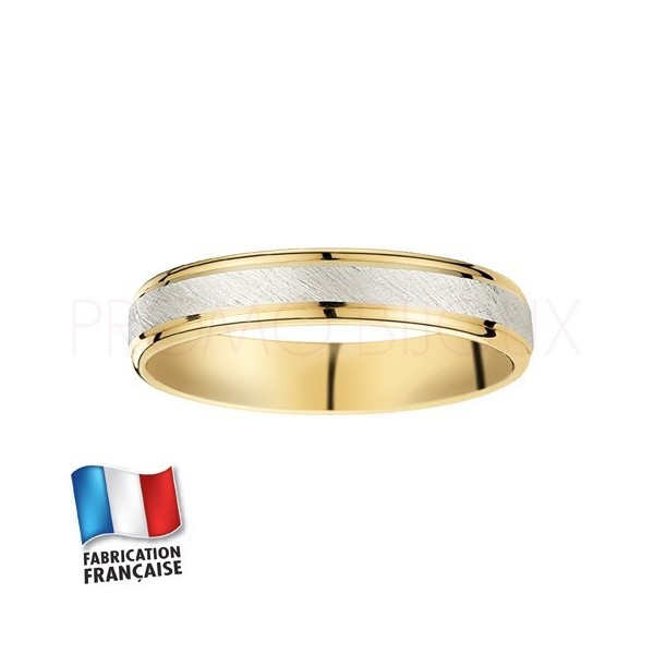 Alliance de mariage deux ors 9 carats - Confort - 4 MM