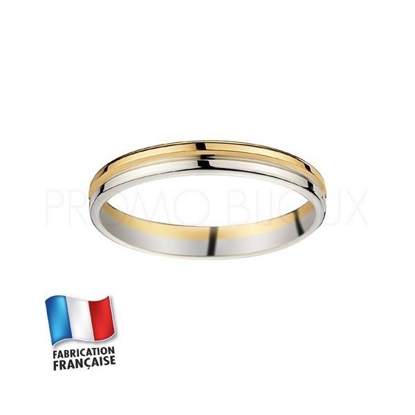 Alliance de mariage deux ors 9 carats - Confort - 3 MM