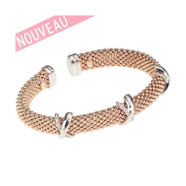 Bracelet Una Storia - Bracelet rigide Maille argent doré rose tressée