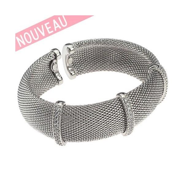 Bracelet Una Storia - Bracelet rigide Maille argent tressée