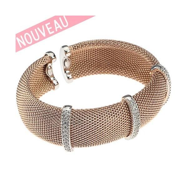 Bracelet Una Storia - Bracelet rigide Maille argent doré rose