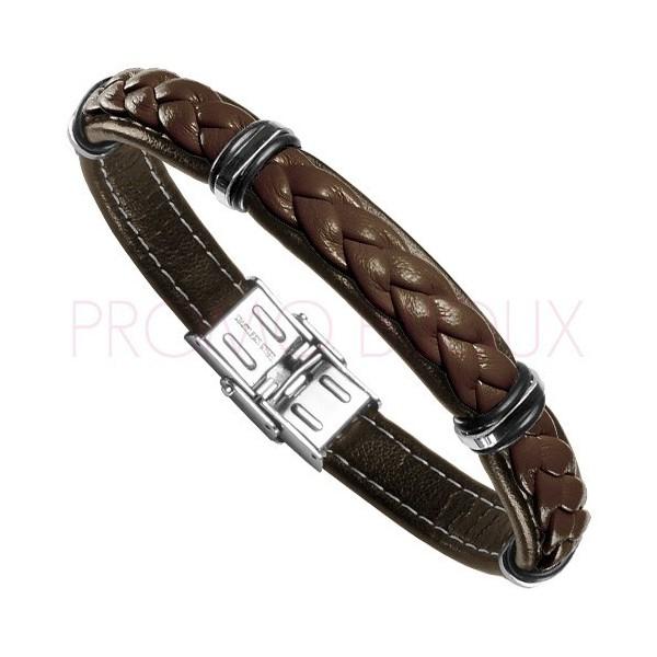 Bracelet Acier Homme - Cuir Marron sur Acier