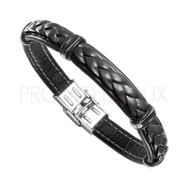 Bracelet Acier Homme - Cuir Rouge & Noir sur Acier