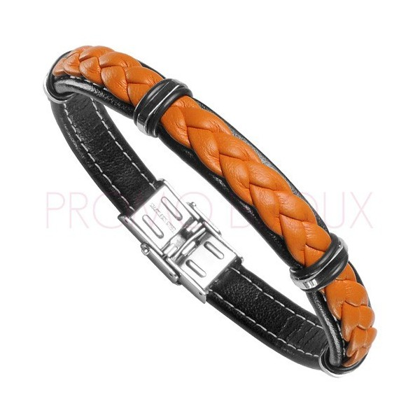 Bracelet Acier Homme - Cuir Orange & Noir sur Acier