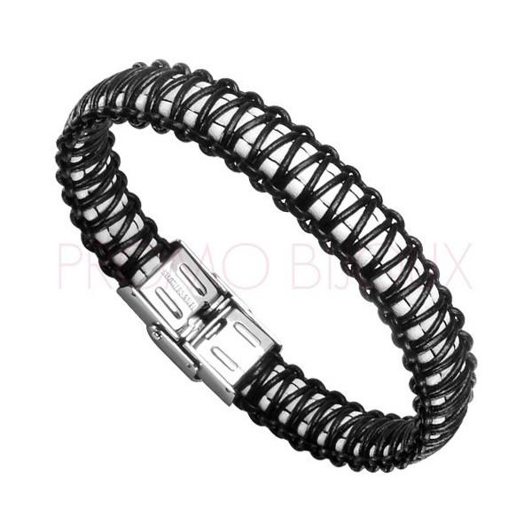 Bracelet Acier Homme - Cuir Blanc & Noir sur Acier