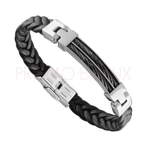 Bracelet Acier Homme - Cuir Noir Tressé & Acier