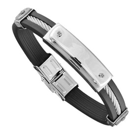 Bracelet Acier Homme - Caoutchouc Noir, Acier & Cable Gris