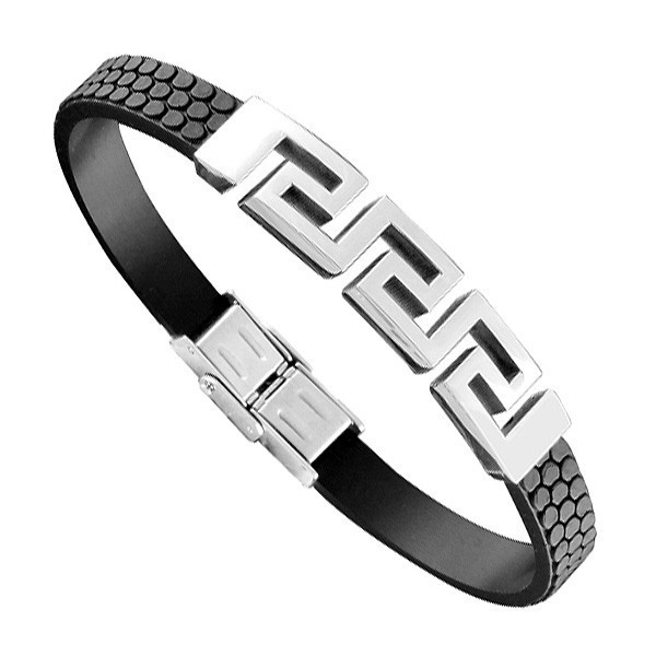 Bracelet Acier Homme - Caoutchouc Noir & Motif Grec Découpé Acier