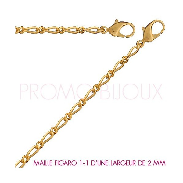 Chaine Plaqué Or Maille Figaro 1+1 - Largeur de Maille 2 Millimètres - 45 Cm