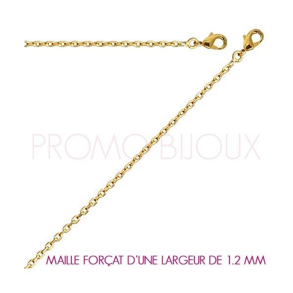 Chaine Plaqué Or Maille Forçat - Largeur de Maille 1.2 Millimètres - 40 Cm