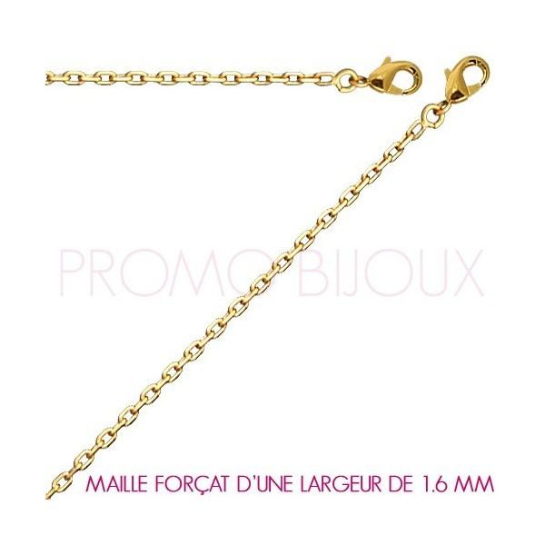 Chaine Plaqué Or Maille Forçat - Largeur de Maille 1.6 Millimètres - 40 Cm
