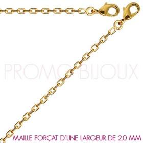 Chaine Plaqué Or Maille Forçat - Largeur de Maille 2.0 Millimètres - 40 Cm