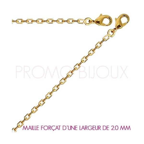 Chaine Plaqué Or Maille Forçat - Largeur de Maille 2.0 Millimètres - 45 Cm