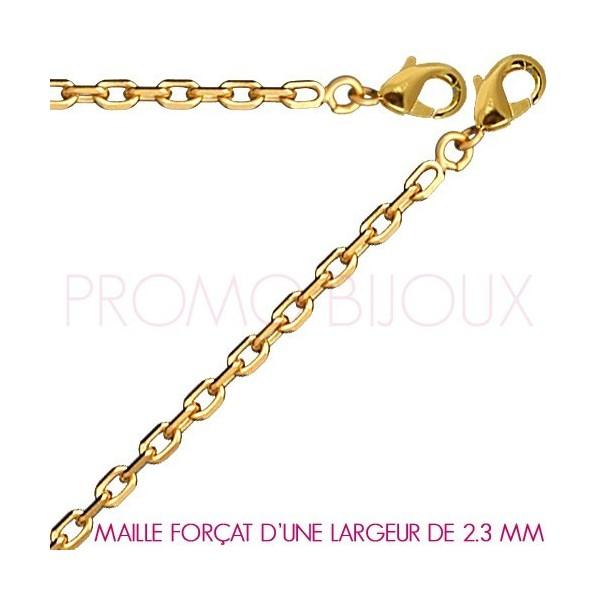 Chaine Plaqué Or Maille Forçat - Largeur de Maille 2.3 Millimètres - 50 Cm