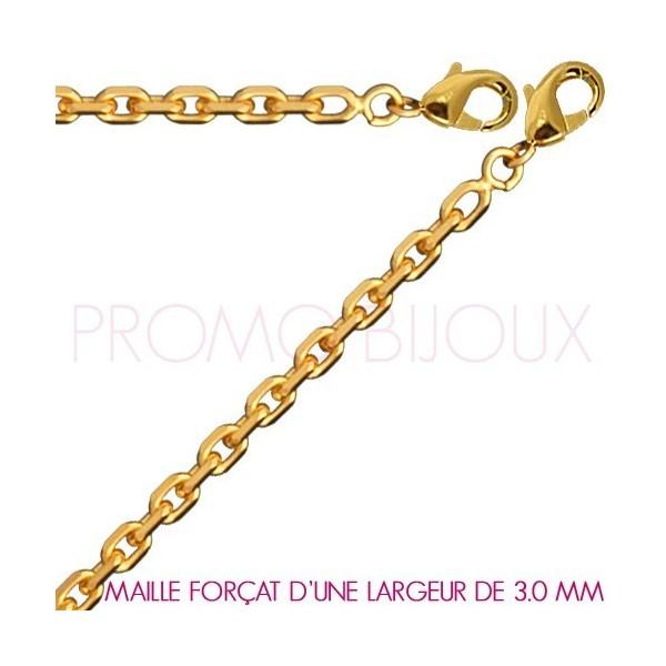 Chaine Plaqué Or Maille Forçat - Largeur de Maille 3 Millimètres - 55 Cm