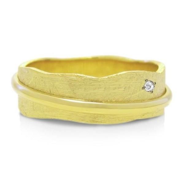 Alliance de Mariage Originale en Or 18 Carats & diamant - I10 Dia - Infini