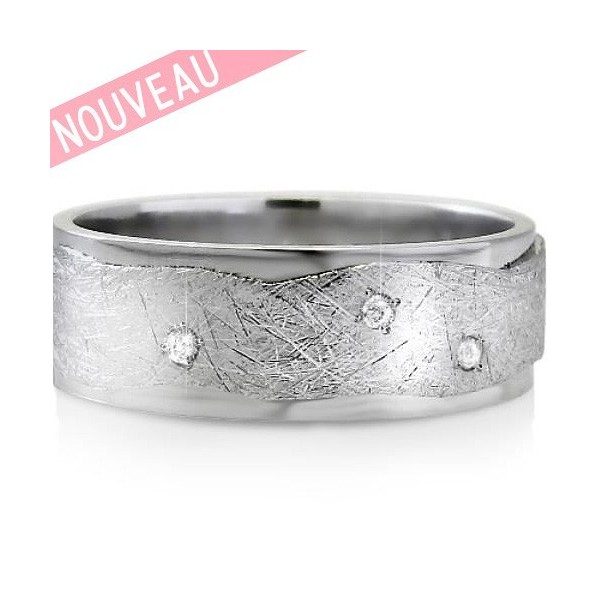 Alliance de Mariage Originale en Or 18 Carats et diamants  - I9 DIA- Infini