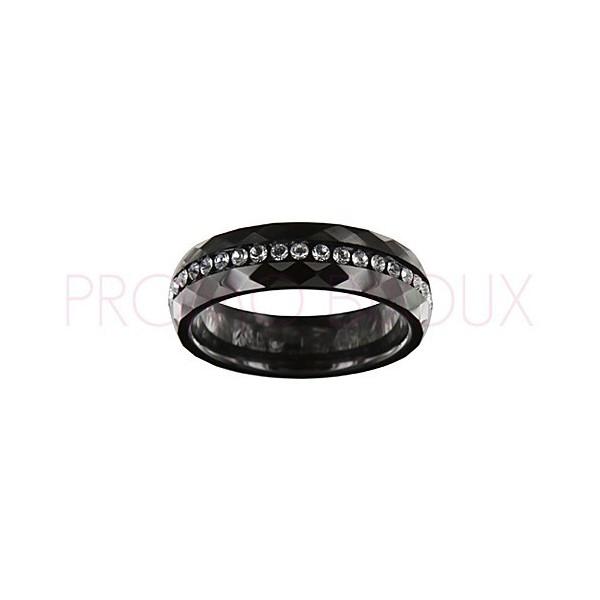 Bague en Céramique Noire avec Oxydes de Zirconium - 921-002 N