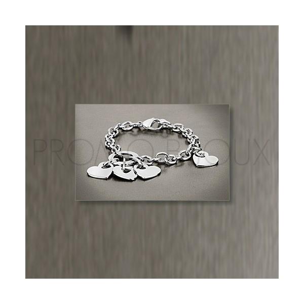 Bracelet Lotus Style - Bracelet Acier Lotus Multi-Coeurs