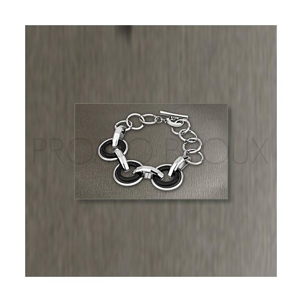 Bracelet Lotus Style - Bracelet Acier & Anneaux Noir
