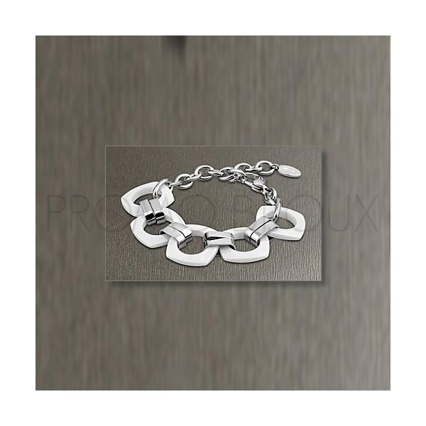 Bracelet Lotus Style - Bracelet Acier & Céramique Blanche