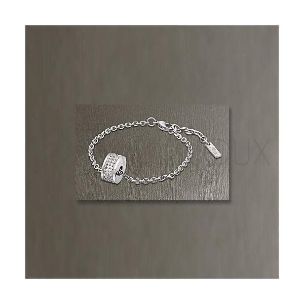 Bracelet Lotus Style - Bracelet Ajouré Acier Strass Blancs