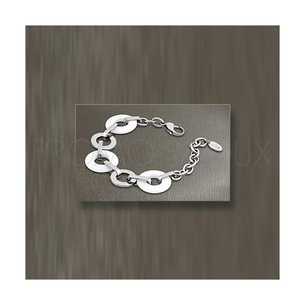 Bracelet Lotus Style - Bracelet Acier Lotus Multi-Anneaux Résine Blanche