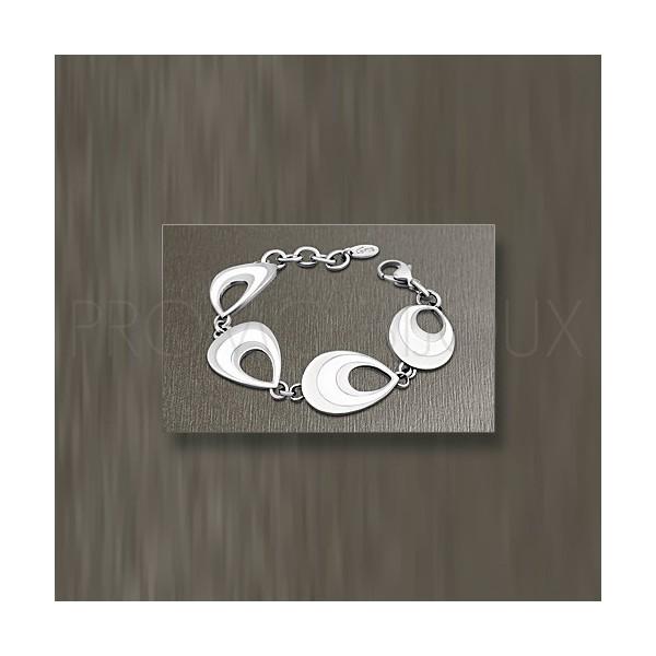 Bracelet Lotus Style Multi-Anneaux Ovales acier/céramique blanche