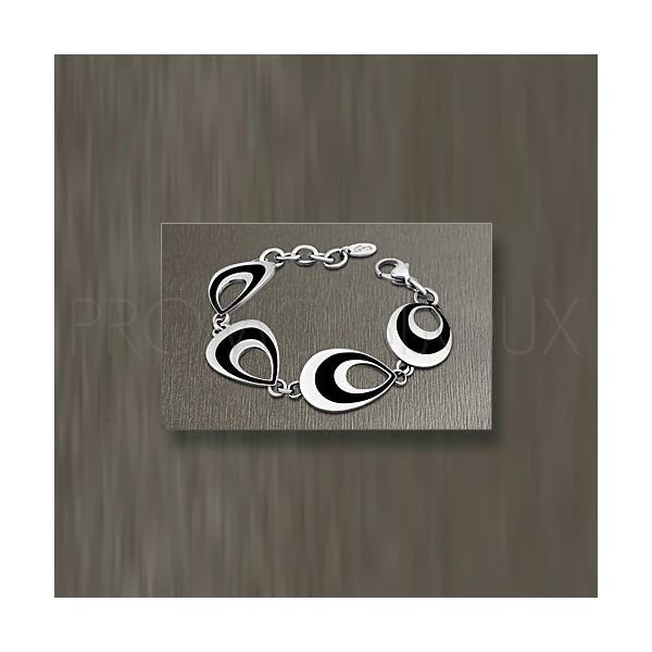 Bracelet Lotus Style - Bracelet Multi-Anneaux Ovales acier/céramique noire