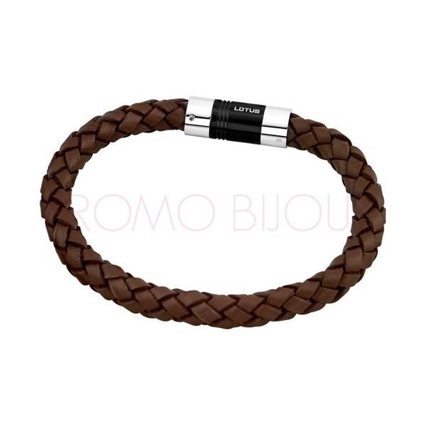 Bracelet Lotus Style - Bracelet Tressé Cuir Marron