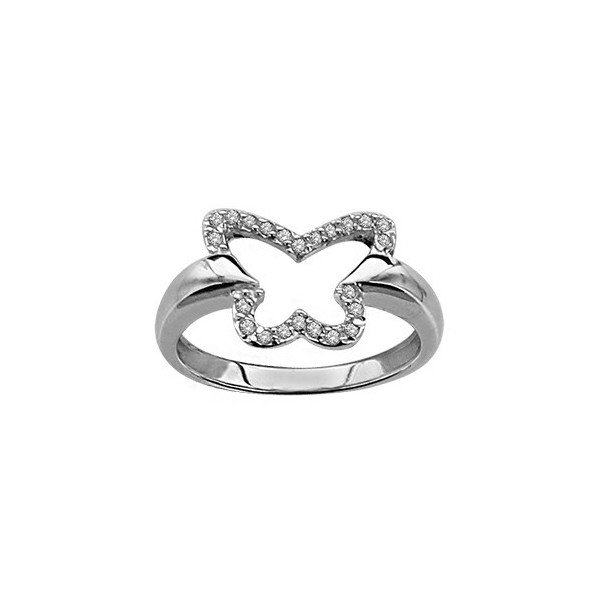 BAGUE ARGENT RHODIE PAPILLON EVIDE PIERRES SYNTH BLANCHES  064631