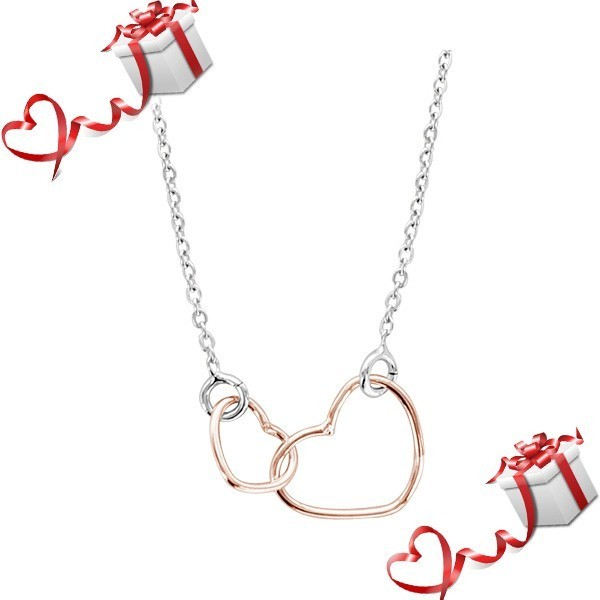 Bijou Saint Valentin - Collier double coeurs en argent dorure rose