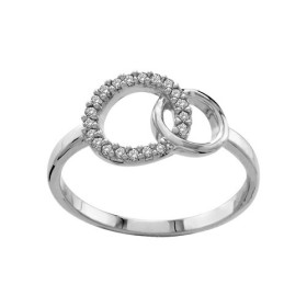 BAGUE ARGENT RHODIE DOUBLE CERCLE ENTRELACE PIERRES BLANCHES SYNTH 064665