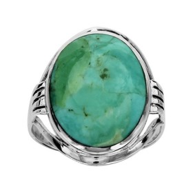 BAGUE ARGENT PLATEAU OVALE TURQUOISE RECONSTITUEE  064970