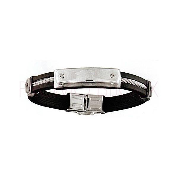 Bijoux Fête des Pères : Bracelet Acier & Caoutchouc