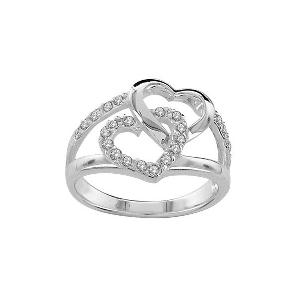 BAGUE ARGENT DOUBLE COEUR PIERRES BLANCHES SYNTH  065059