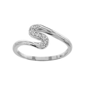 BAGUE ARGENT RHODIE FORME S PIERRES BLANCHES SYNTH  065289