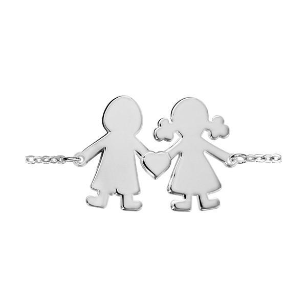 Bracelet Argent silhouettes découpées garçon et fillette