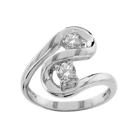 BAGUE ARGENT RHODIE FORME SPIRALE 2 PIERRES RONDES BLANCHES SYNTH 065290