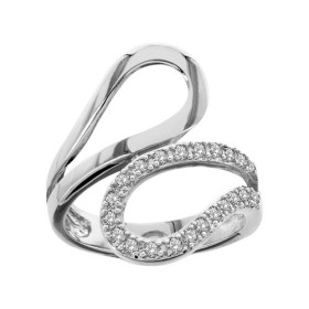 BAGUE ARGENT RHODIE FORME BOUCLE PIERRES BLANCHES SYNTH  065291