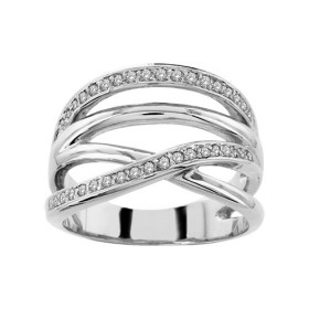 BAGUE ARGENT RHODIE LARGE CROISEE PIERRES BLANCHES SYNTH 065292