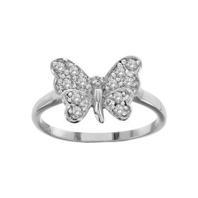 BAGUE ARGENT RHODIE PAPILLON PIERRES BLANCHES SYNTH 065293